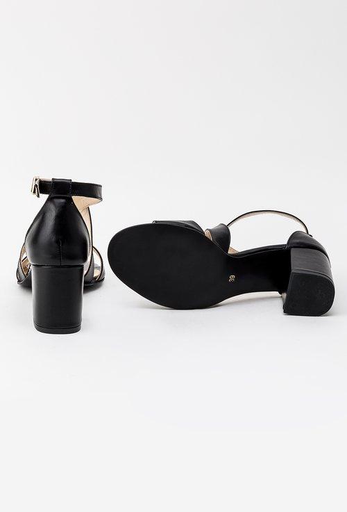 Sandale negre din piele naturala Casia