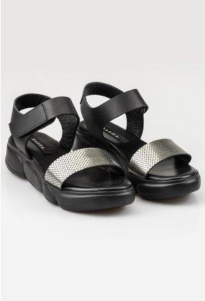 Sandale negre din piele naturala cu bareta argintie