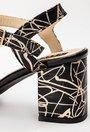 Sandale negre din piele naturala cu imprimeu auriu Gold