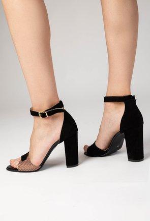 Sandale negre din piele naturala intoarsa Lily
