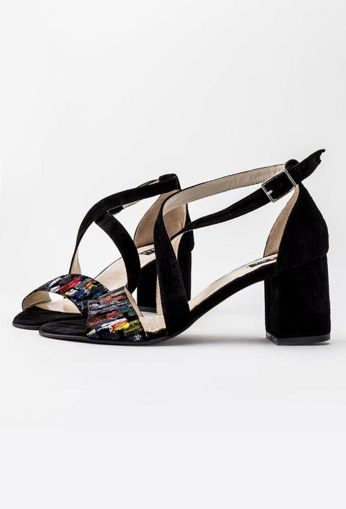Sandale negre din piele naturala intoarsa Loris