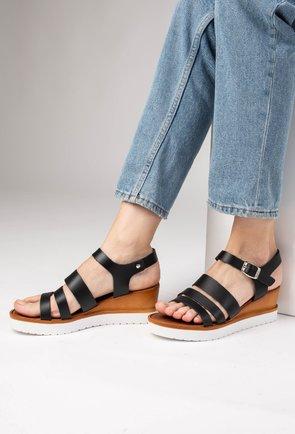 Sandale negre din piele naturala Lorys