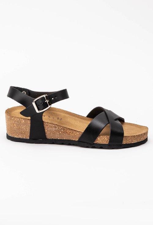 Sandale negre din piele naturala Papaya