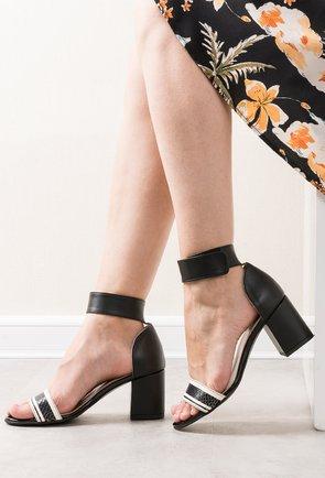 Sandale negru cu crem din piele naturala Lavinia