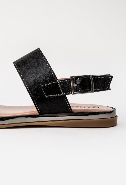 Sandale negru metalizat din piele naturala Lucky