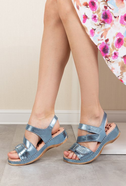 Sandale nuanta albastru metalizat din piele naturala Nory