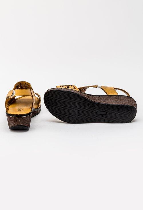 Sandale nuanta galben mustar cu platforma din piele naturala Lavi