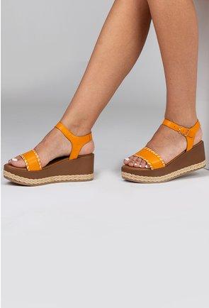 Sandale nuanta galben mustar din piele naturala cu platforma