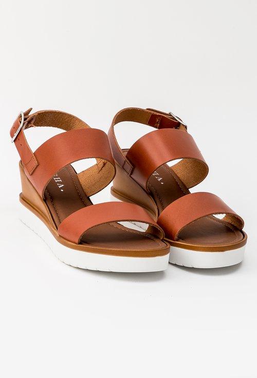 Sandale nuanta maro roscat din piele naturala Carla