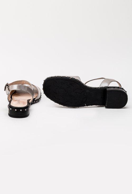 Sandale nude sidefat cu tinte din piele naturala Mila