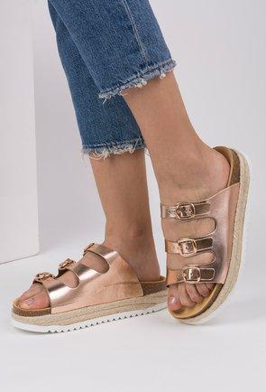 Sandale rose gold din piele naturala Helena
