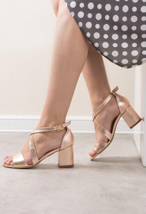 Sandale rose gold din piele naturala Rafaela