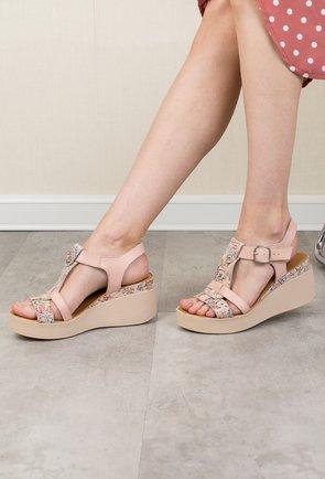 Sandale roze inchis din piele naturala cu imprimeu colorat Flavia