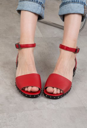 Sandale rosii cu tinte din piele naturala Mila