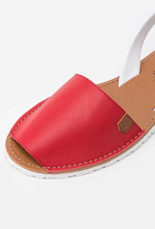 Sandale rosu cu alb din piele naturala Anida