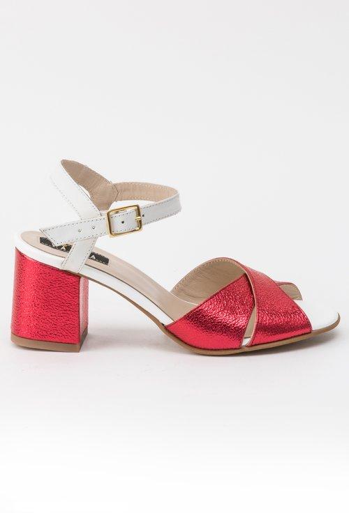 Sandale rosu metalizat cu alb din piele naturala Larra