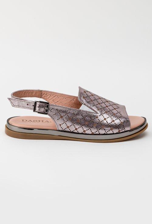 Sandale roz metalizat din piele naturala Kyle