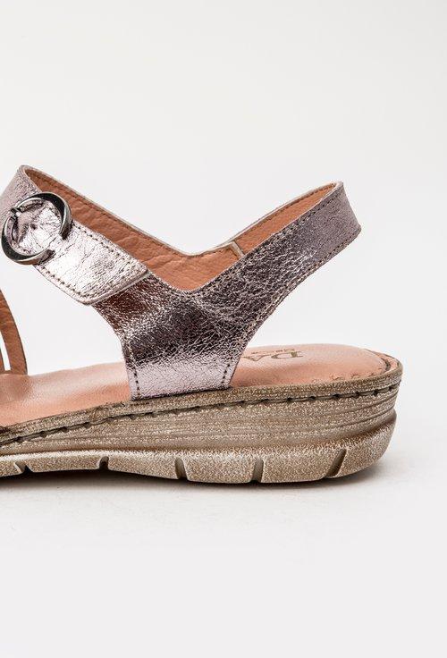 Sandale roz metalizat din piele naturala Viki