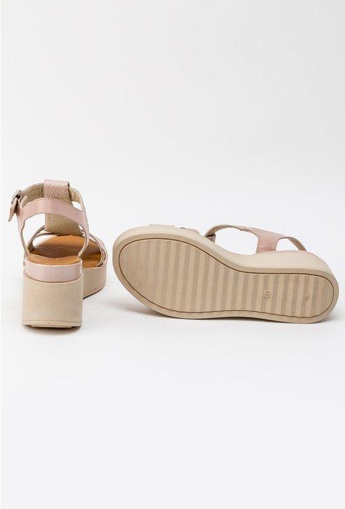 Sandale roz pal din piele naturala cu platforma Mayra