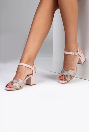 Sandale roz pudra din piele naturala cu imprimeu floral