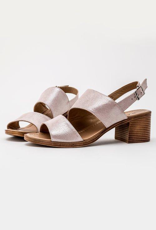 Sandale roz sidefat din piele naturala Leticia
