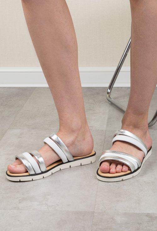 Sandale tip papuc Darkwood albe si argintiu din piele naturala Graciela