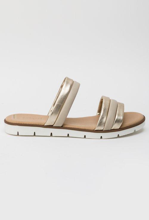 Sandale tip papuc Darkwood bej si auriu din piele naturala Graciela