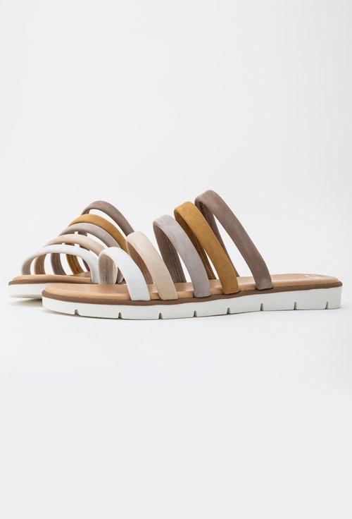 Sandale tip papuc Darkwood in nuante deschise din piele naturala intoarsa Insula