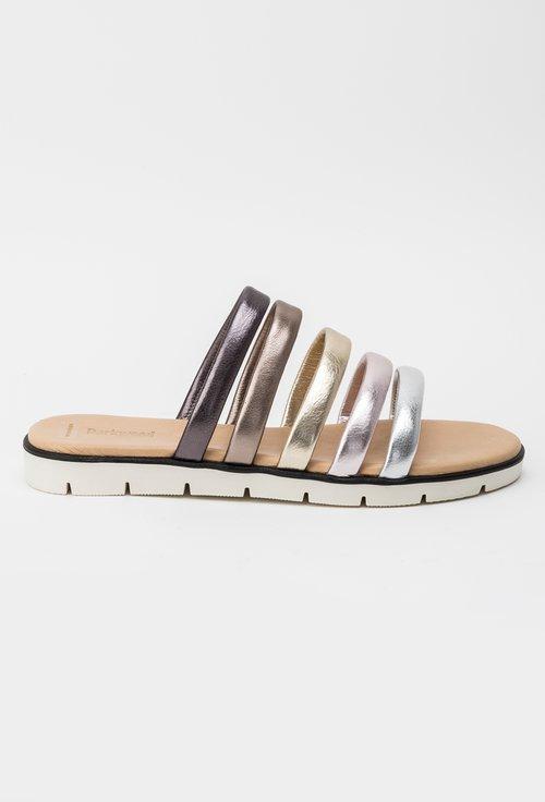 Sandale tip papuc Darkwood in nuante metalizate din piele naturala Insula