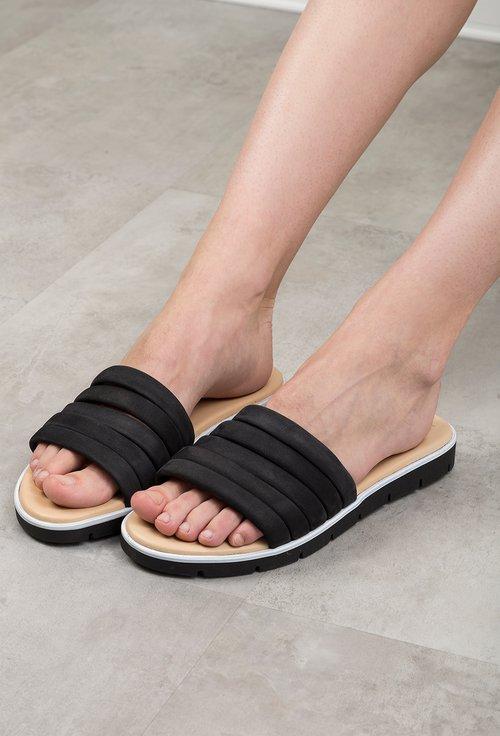 Sandale tip papuc Darkwood negre din piele naturala intoarsa Isaura