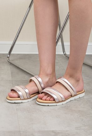 Sandale tip papuc Darkwood nude si rose metalizat din piele naturala Graciela