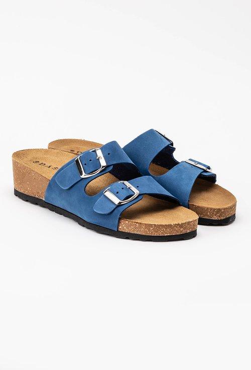 Sandale tip papuc din piele naturală nuanta albastru Noah