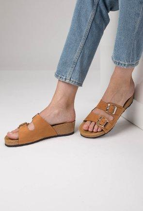 Sandale tip papuc din piele naturală nuanta camel Noah