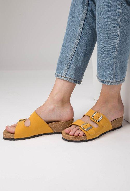 Sandale tip papuc din piele naturală nuanta galben Noah