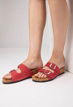 Sandale tip papuc din piele naturală nuanta roz zmeura Noah