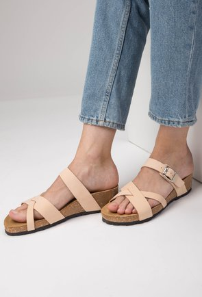 Sandale tip papuc din piele naturala crem Dora