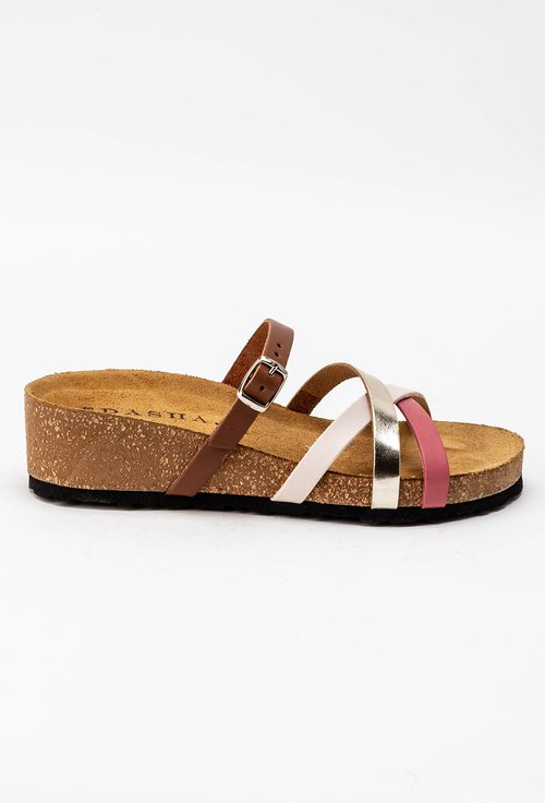 Sandale tip papuc din piele naturala cu barete incrucisate Rita
