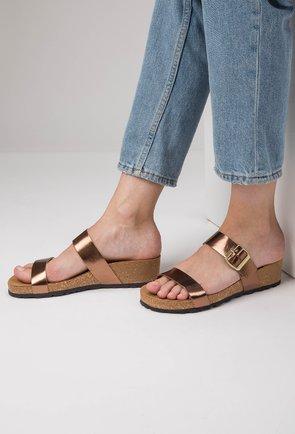 Sandale tip papuc din piele naturala nuanta bronz Lami