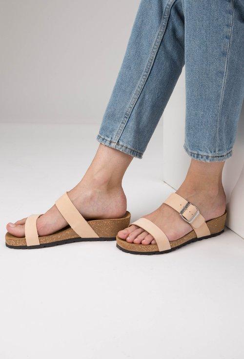 Sandale tip papuc din piele naturala nuanta crem Lami