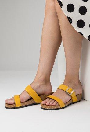 Sandale tip papuc din piele naturala nuanta galben Lami
