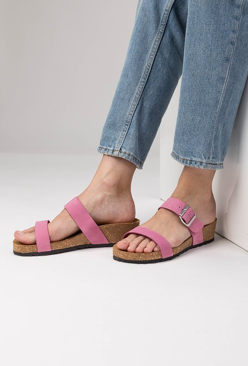 Sandale tip papuc din piele naturala nuanta roz Lami