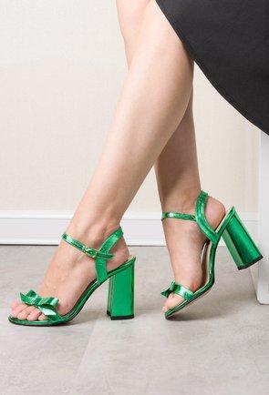 Sandale verde-metalizat din piele naturala Elif