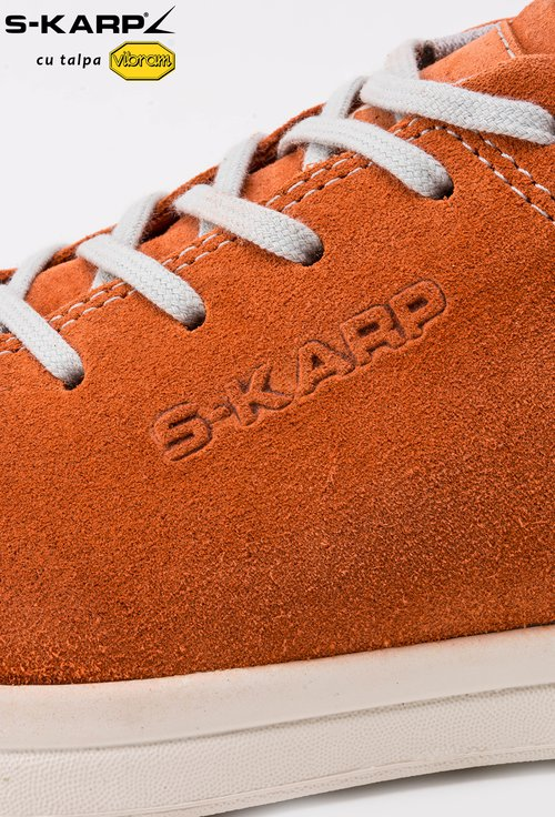 Sneakers S-Karp portocalii din piele naturala Ruth