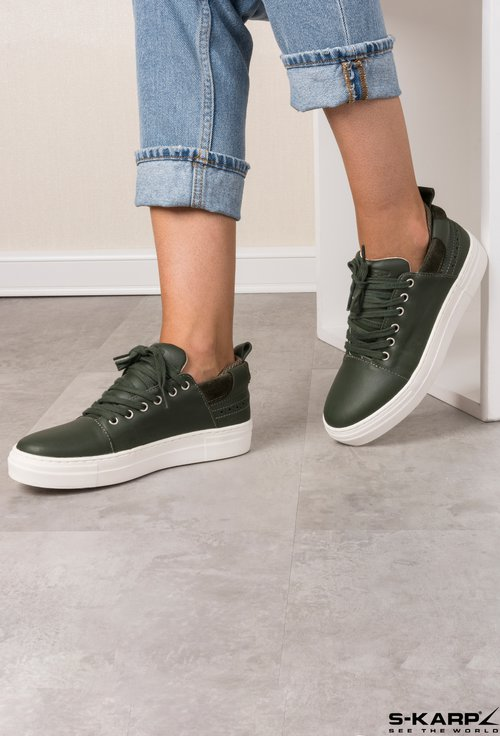 Sneakers S-Karp verde forest din piele naturala Cosia