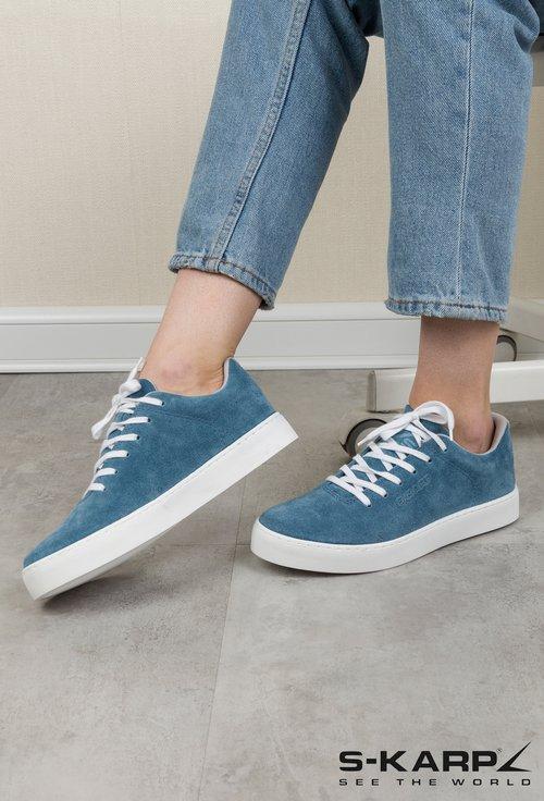 Sneakersi S-Karp bleu din piele naturala intoarsa Monde