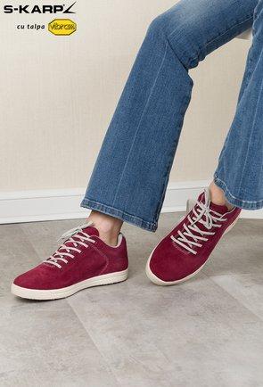 Sneakersi S-Karp burgundy din piele naturala Ruth