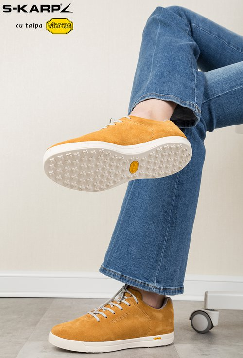 Sneakersi S-Karp galben mustar din piele naturala Ruth