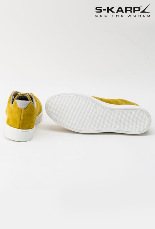 Sneakersi S-Karp galbeni din piele naturala intoarsa Monde