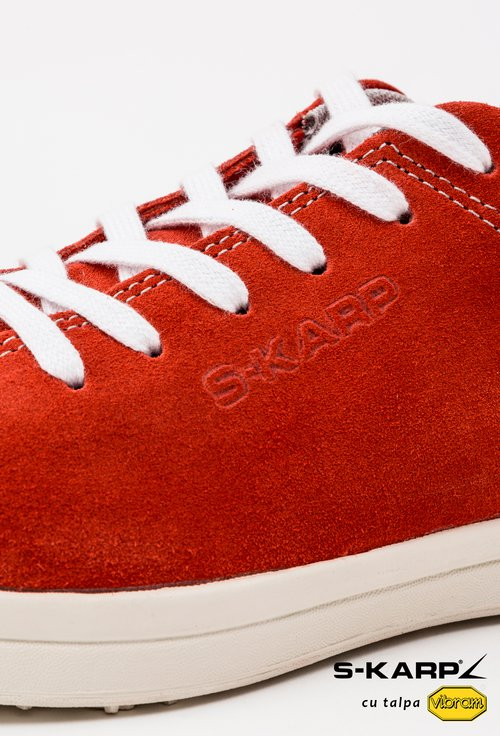 Sneakersi S-Karp nuanta rosu-corai din piele naturala Ruth
