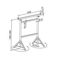 Capra metalica reglabila 1m -1.8m cu picioare rotative